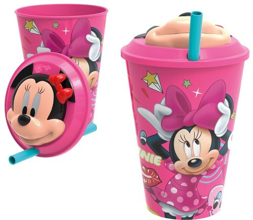 Vaso 430ml 3d con pajita de Minnie Mouse (0/24)